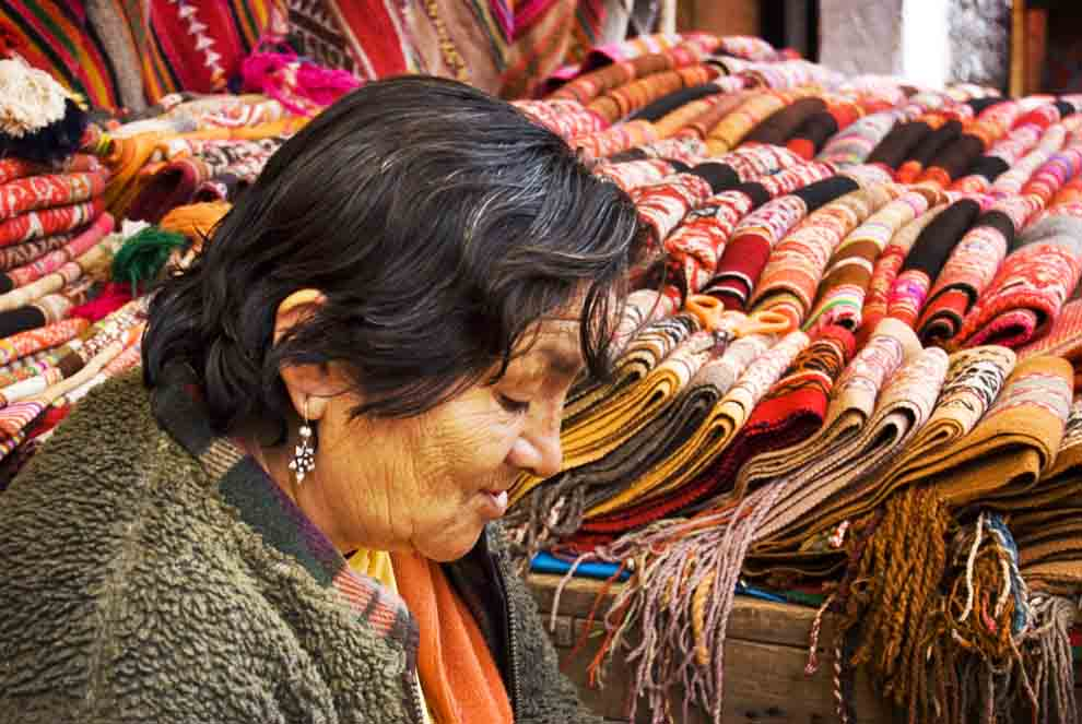 quilts in pisac market peru