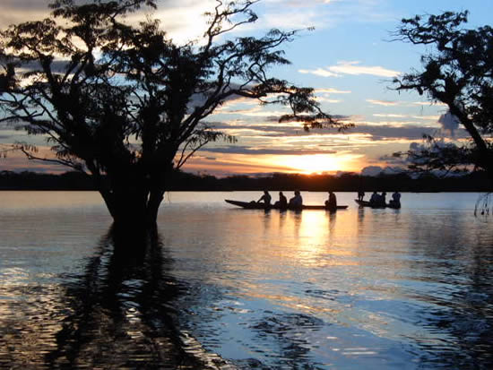 canoe sunset amazon